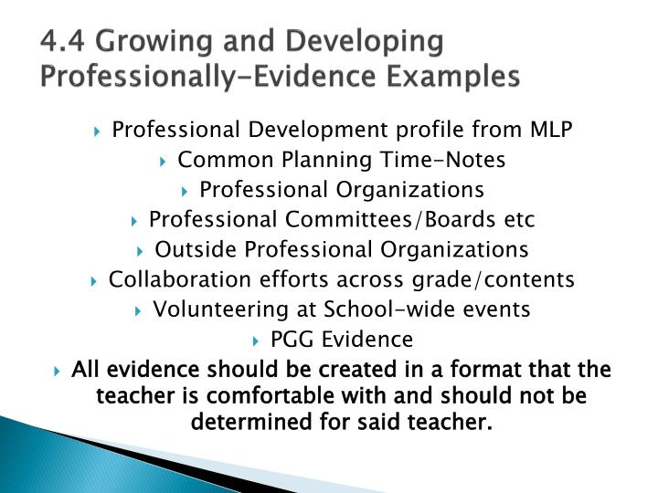 4.4 Growing and Developing Professionally-Evidence Examples