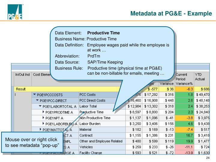 Metadata at PG&E - Example