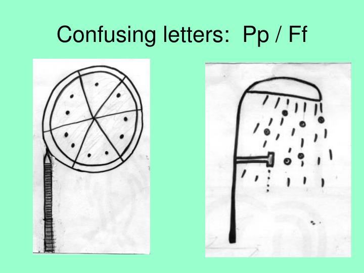 Confusing letters:  Pp / Ff