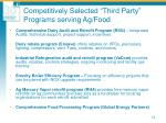 competitively selected third party programs serving ag food