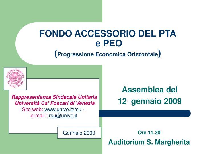 Fondo accessorio del pta e peo progressione economica orizzontale