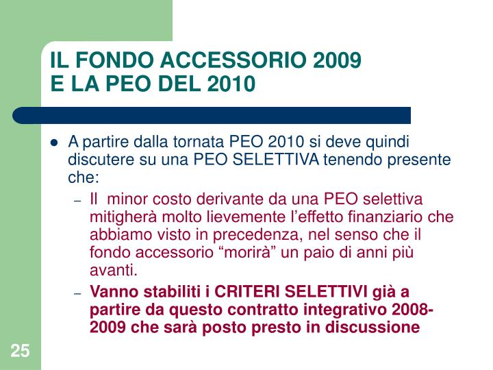 IL FONDO ACCESSORIO 2009