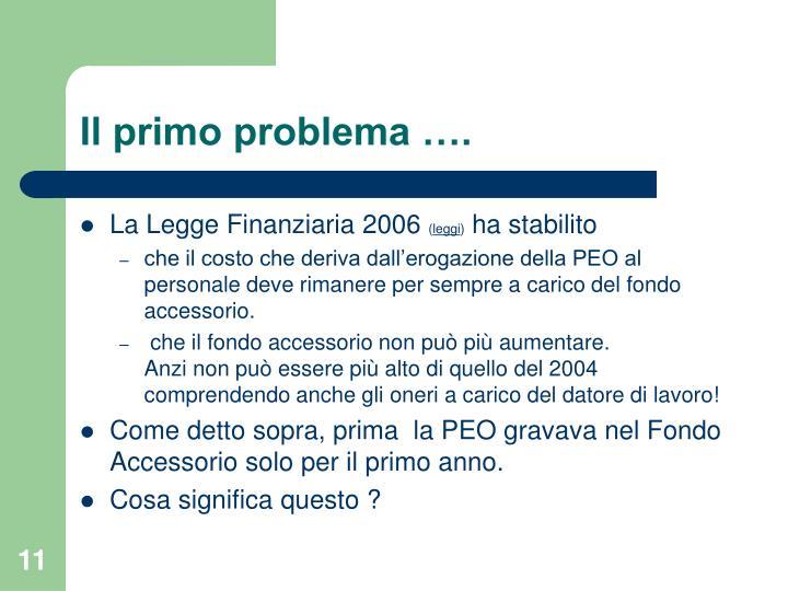 Il primo problema ….