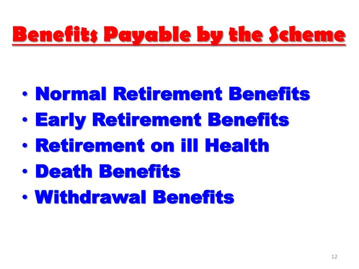 Benefits Payable by the Scheme