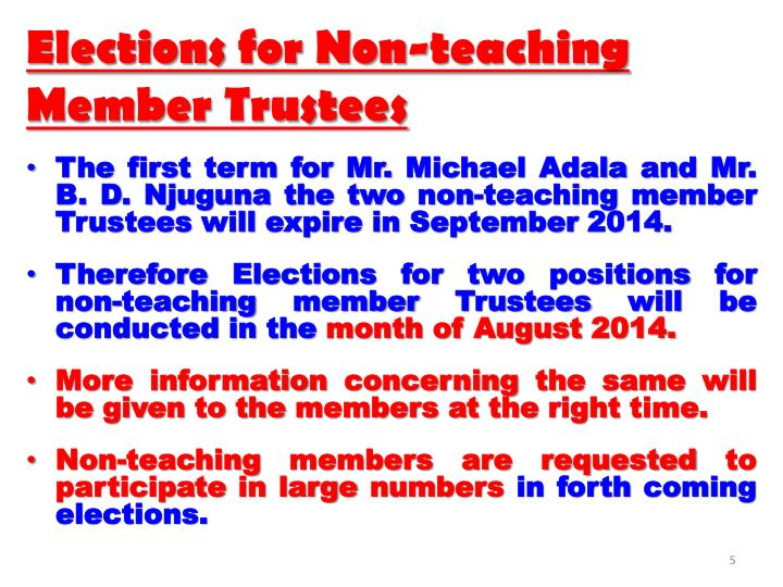 Elections for Non-teaching