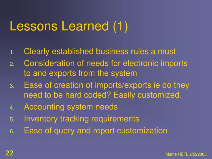 Lessons Learned (1)