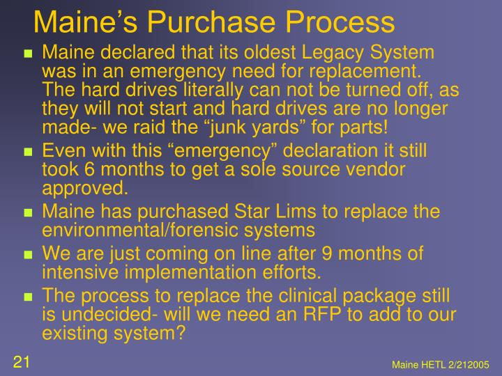 Maine's Purchase Process