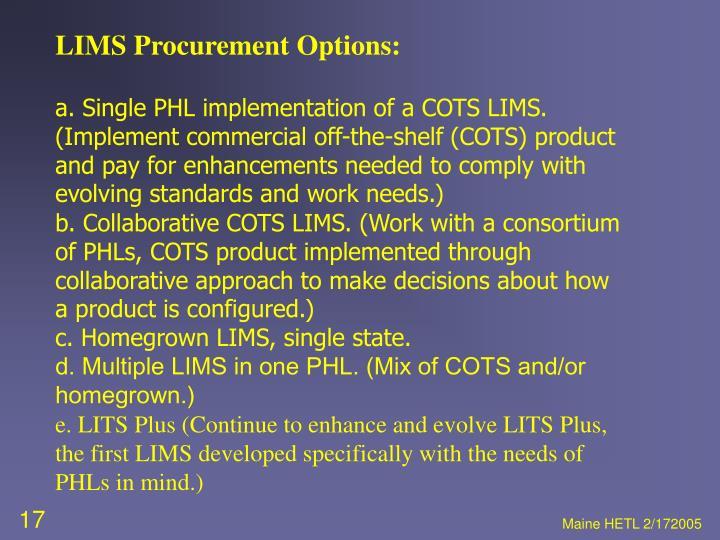 LIMS Procurement Options: