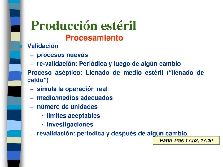 Producción estéril