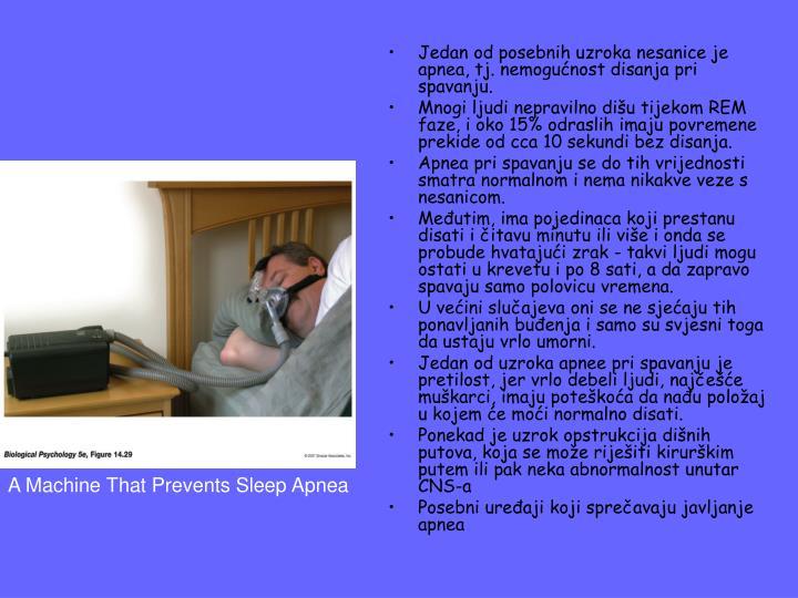 Jedan od posebnih uzroka nesanice je apnea, tj. nemogućnost disanja pri spavanju.