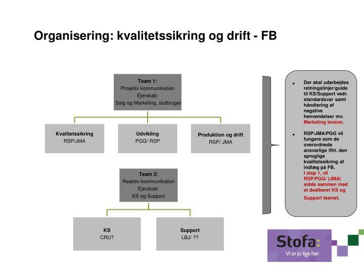 Organisering: kvalitetssikring og drift - FB