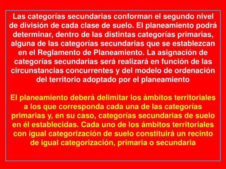 Las categorías secundarias conforman el segundo nivel de división de cada clase de suelo. El planeamiento podrá determinar, dentro de las distintas categorías primarias, alguna de las categorías secundarias que se establezcan en el Reglamento de Planeamiento. La asignación de categorías secundarias será realizará en función de las circunstancias concurrentes y del modelo de ordenación del territorio adoptado por el planeamiento