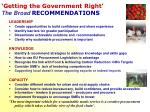 getting the government right the broad recommendations