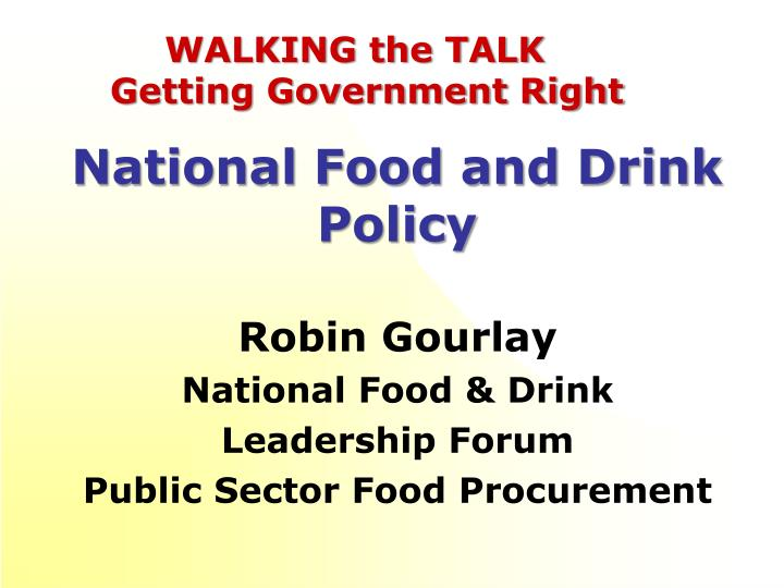 national food and drink policy n.