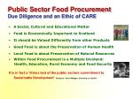 public sector food procurement due diligence and an ethic of care