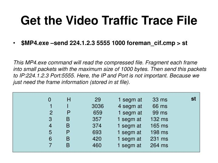 Get the Video Traffic Trace File