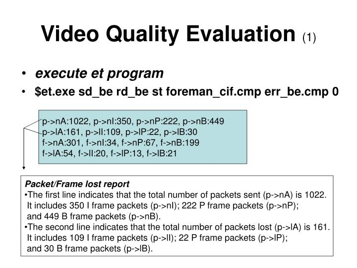 Video Quality Evaluation