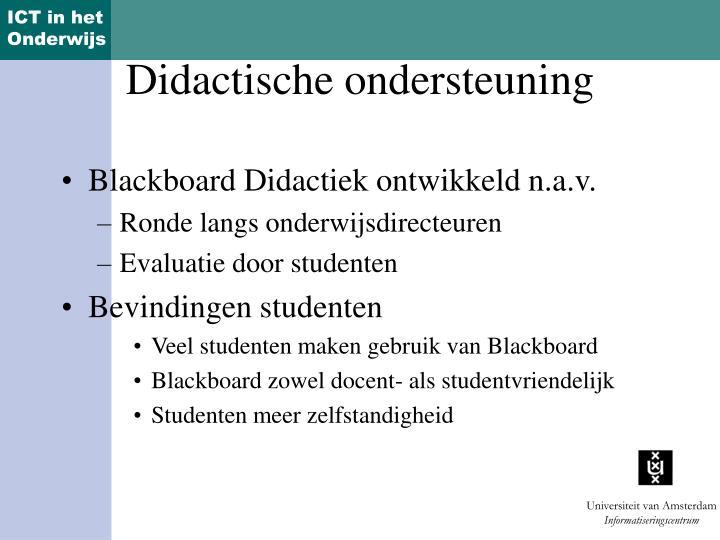 Blackboard Didactiek ontwikkeld n.a.v.