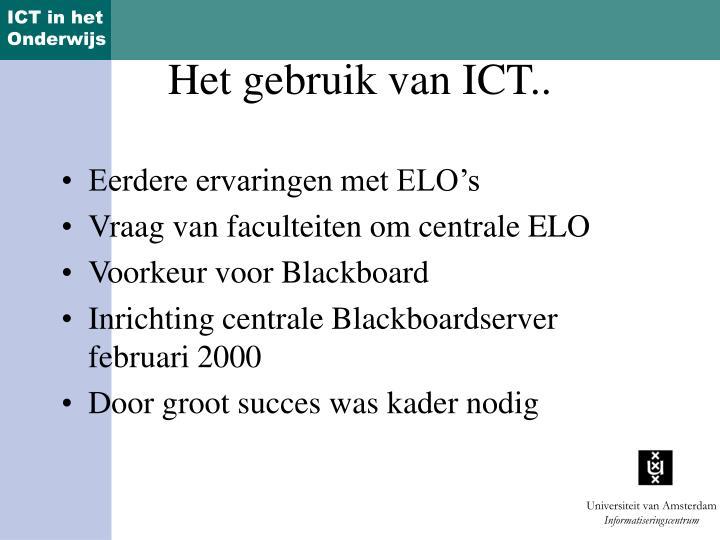 Het gebruik van ict
