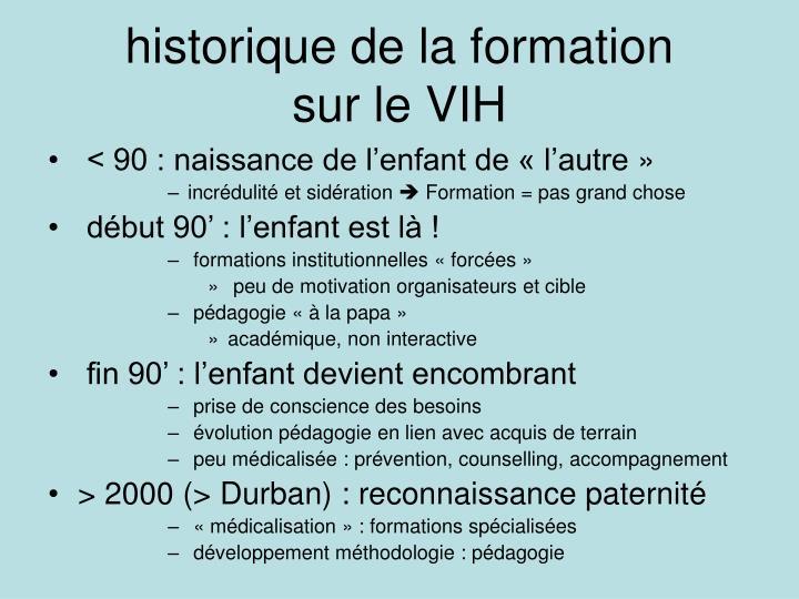 historique de la formation
