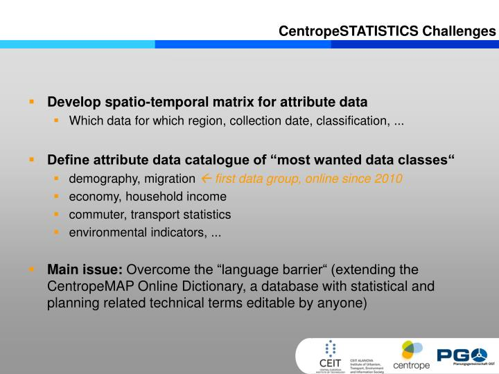 CentropeSTATISTICS Challenges
