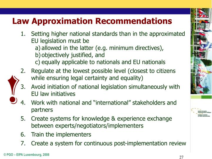 Law Approximation Recommendations