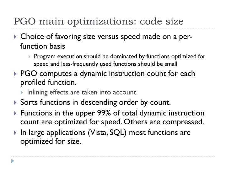 PGO main optimizations: code size