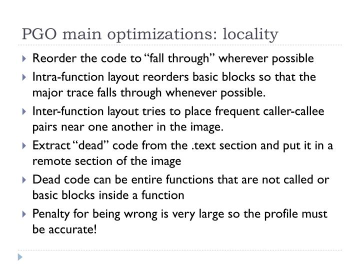 PGO main optimizations: locality