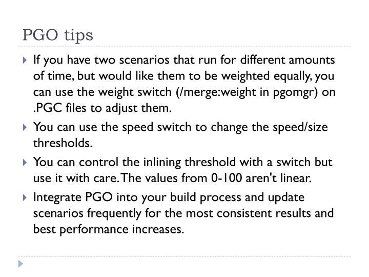 PGO tips