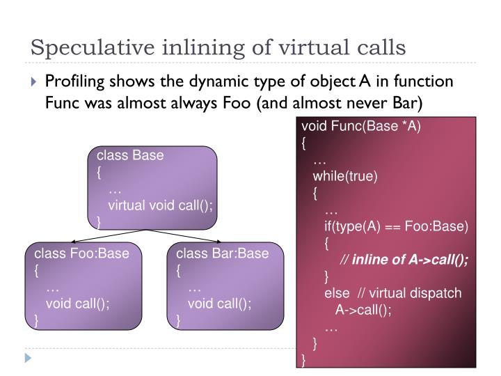 Speculative inlining of virtual calls