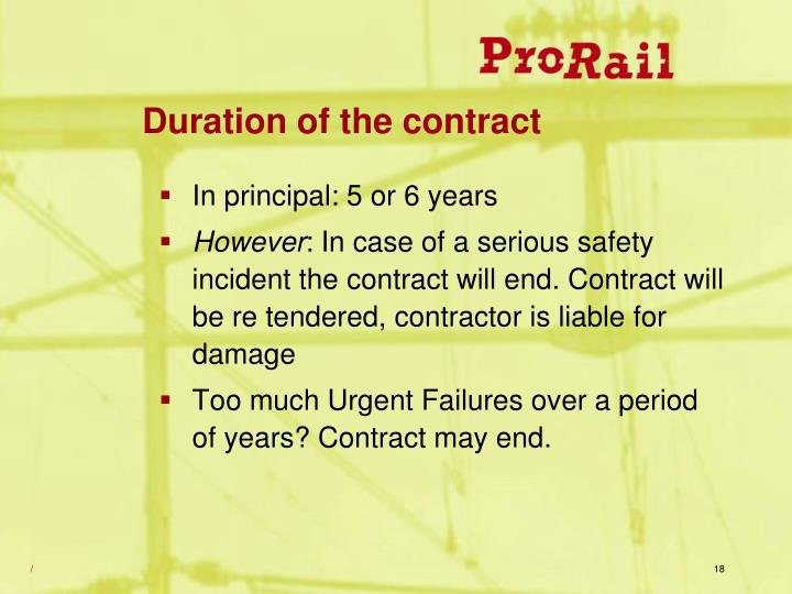 Duration of the contract