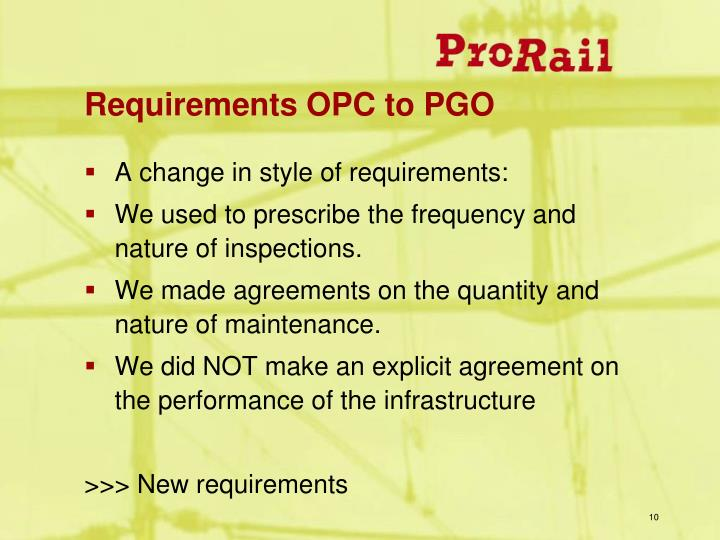 Requirements OPC to PGO