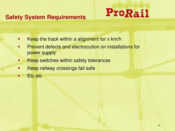 Safety System Requirements
