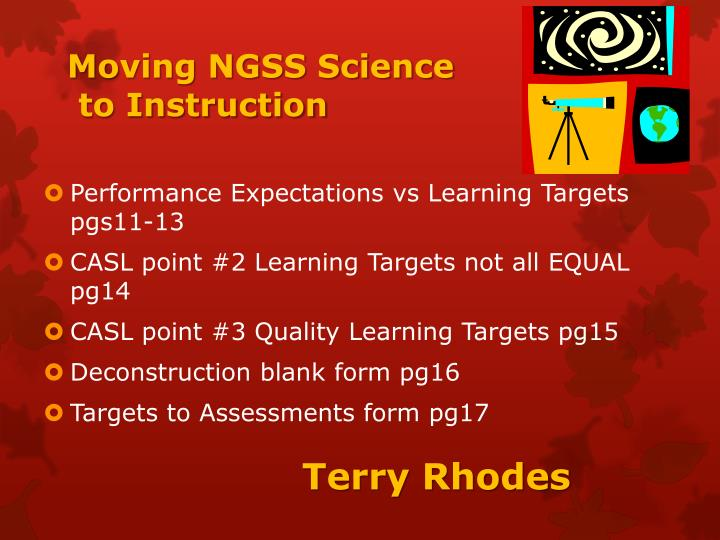 Moving NGSS Science