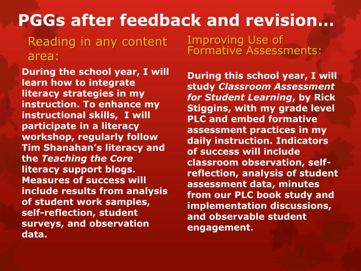 PGGs after feedback and revision…