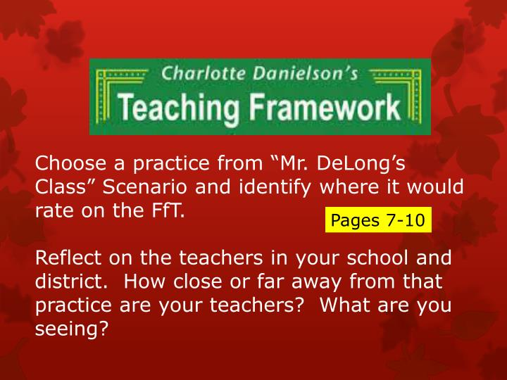 """Choose a practice from """"Mr. DeLong's Class"""" Scenario and identify where it would rate on the FfT."""