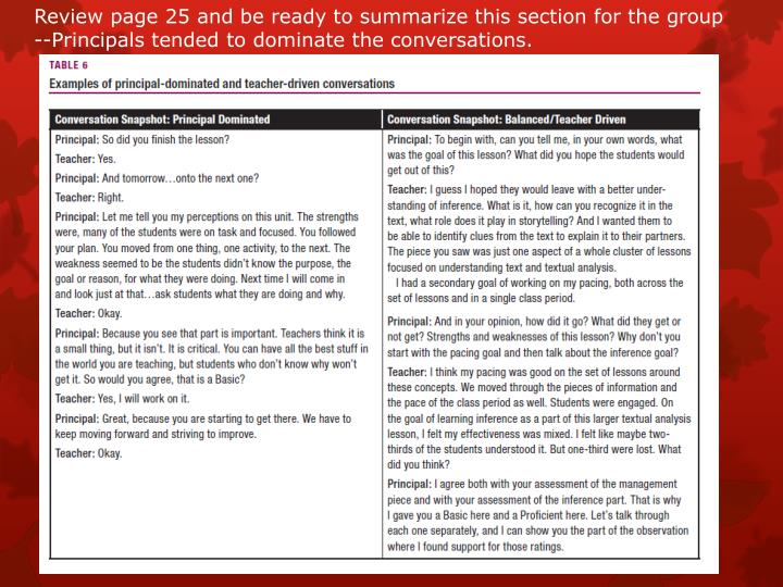 Review page 25 and be ready to summarize this section for the group