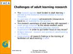 challenges of adult learning research