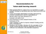 recommendations for future adult learning research