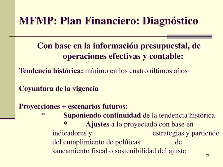 MFMP: Plan Financiero: Diagnóstico