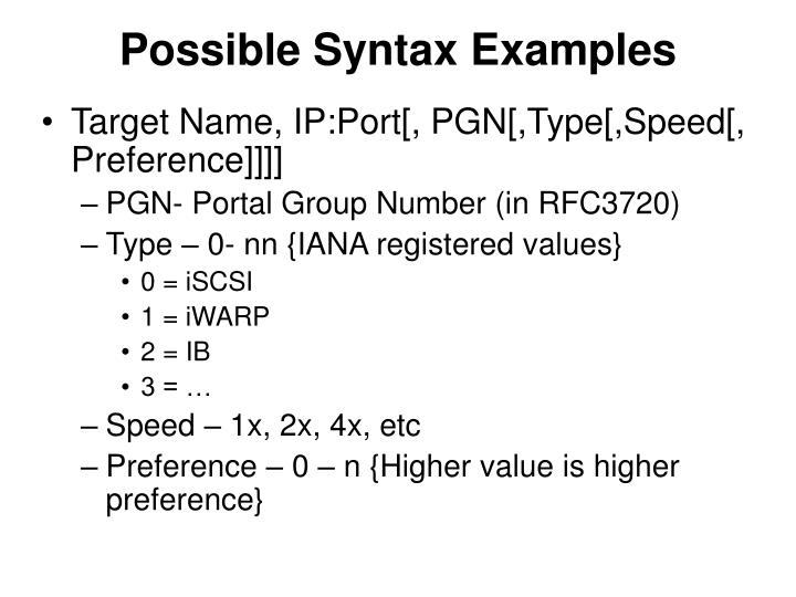 Possible syntax examples