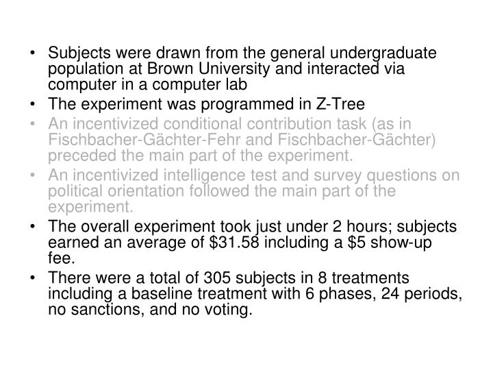 Subjects were drawn from the general undergraduate population at Brown University and interacted via computer in a computer lab