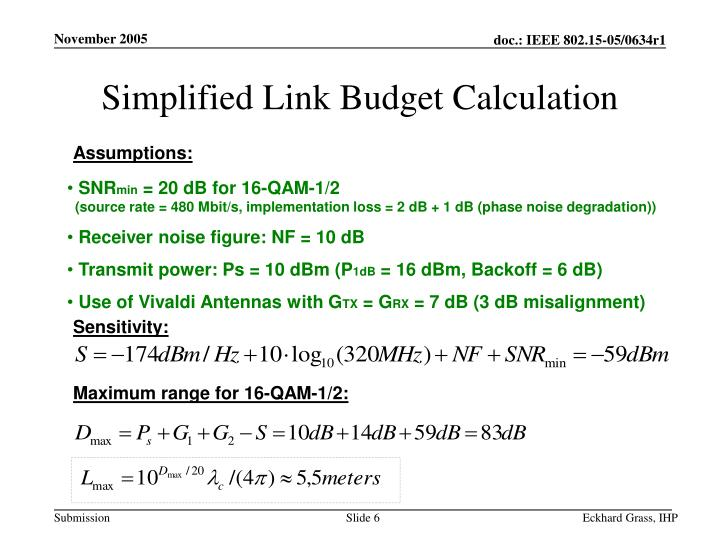Simplified Link Budget Calculation