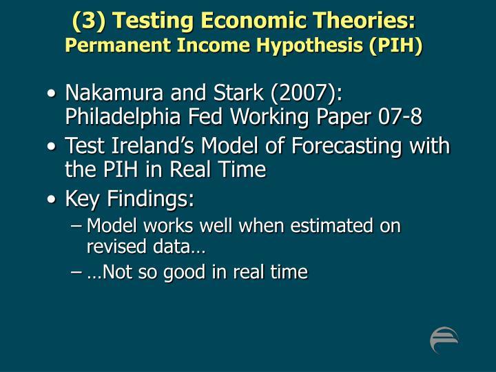 (3) Testing Economic Theories: