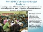 the team math teacher leader academy