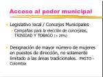 acceso al poder municipal