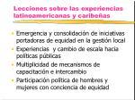 lecciones sobre las experiencias latinoamericanas y caribe as