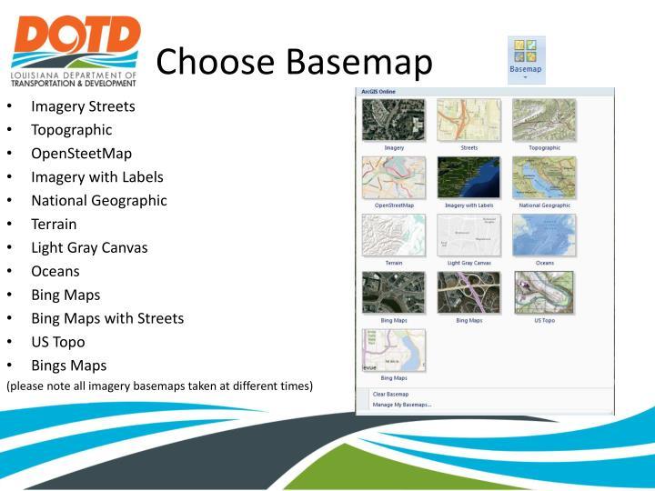 Choose Basemap