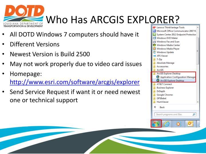 Who Has ARCGIS EXPLORER?