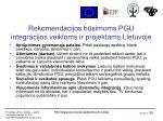 rekomendacijos b simoms pgu integracijos veikloms ir projektams lietuvoje